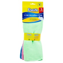 Foxlife Microfiber Cleaning cloth 32x32 cm, High Quality and absorbent colorful 3 pieces value pack