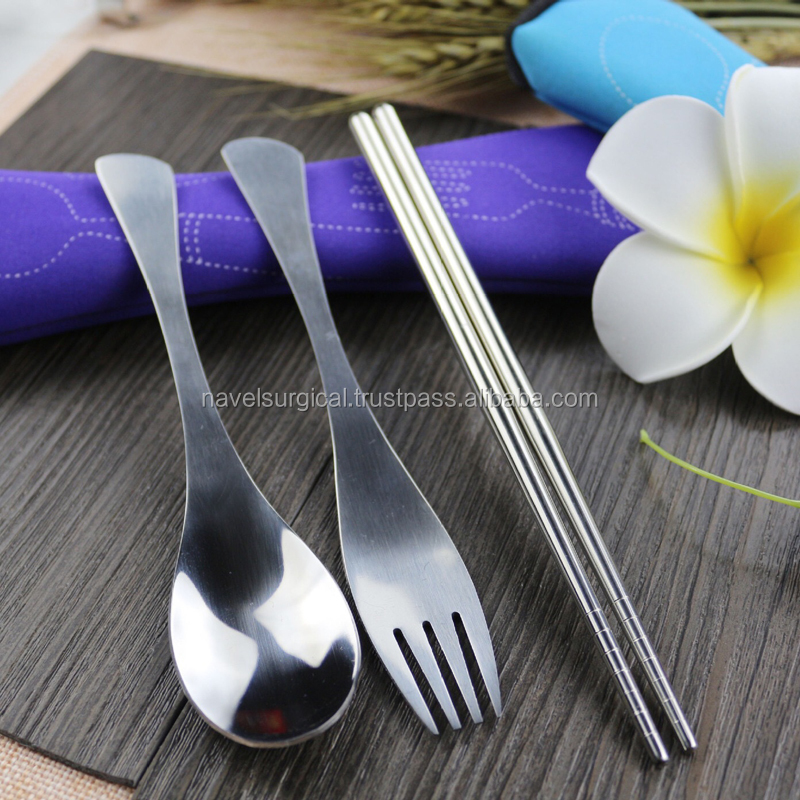 3Pcs/Set Stainless Steel Camping Tableware Fork Spoon Chopsticks Outdoor Tableware For Hiking