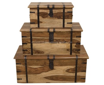 Sheesham Storage Trunk With Metal Deta Large Trunk