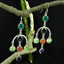 Latest designs multi gemstone silver earrings wholesale 925 sterling silver jewelry handmade silver earrings