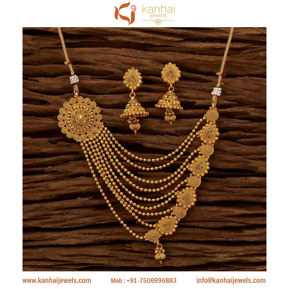 Gold plated indian antique necklace set jewellery manufacturers and exporters worldwide, gold plated wholesale jewellery - 15653