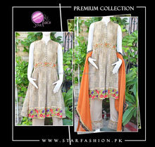 Pakistani/Indian Elegant traditional golden zari net frock with floral embroidery, ari work and hand work with trousers.