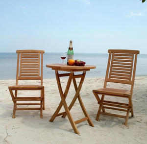Teak Outdoor Furniture: Round Folding Table and Hanton Folding Chair