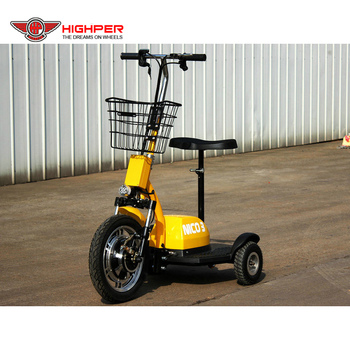 350W 36V12Ah Three Wheel Electric disability Scooter,mobility stand up electric scooter (HP105E-A)