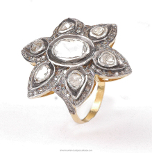 Star Shape 925 Sterling Silver Double cut Polki Diamond Victorian Ring Jewelry, Diamond Ring, Victorian Jewelry