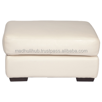 White Color Beautiful Leather Indian Ottoman Pouf For Bed Room Furnishing