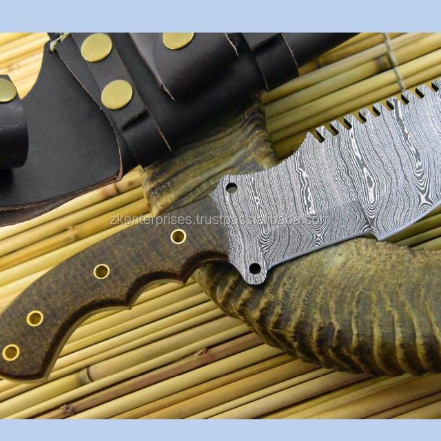 Custom Handmade Damascus Knife (Tracker) with Micarta Sheet Handle