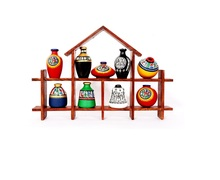 erracotta Warli Handpainted Pots With Sheesham Wooden Hut Frame Wall Hanging