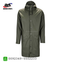 super look stylish long rain jacket for men with two pockets and buttons coach jacket wind braker jacket for men in cheap price