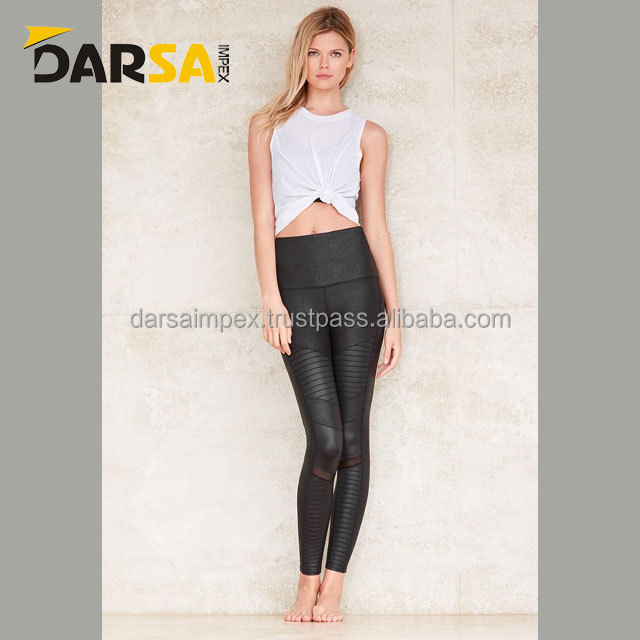 Shine fabric and forward mesh panels women legging