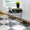 Iron Black Wooden Top wire Mesh basket Side table