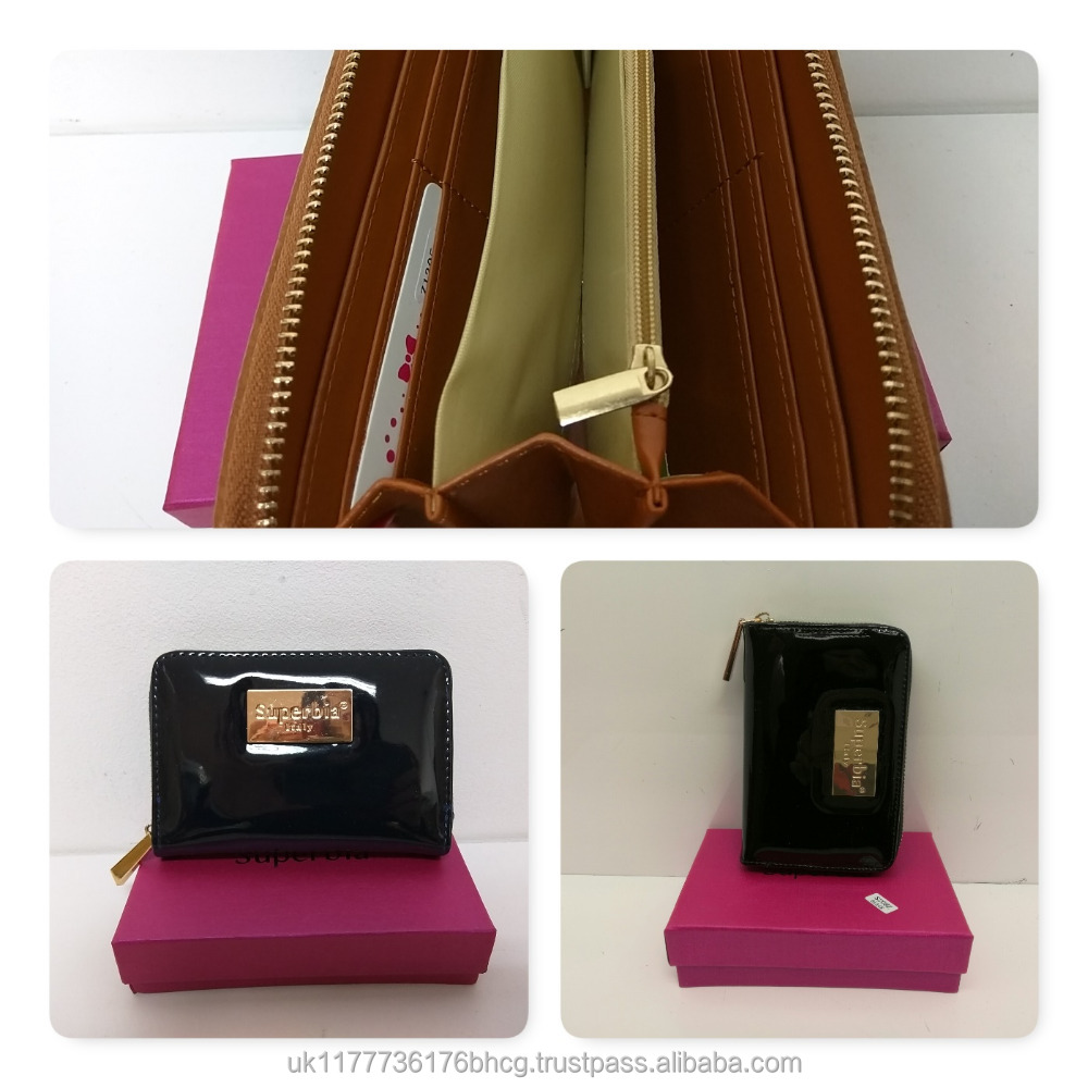 UK Wholesale High quality Patent Pu leather single zip women short wallet card holder