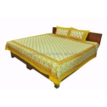 Exclusive Ethnic Jaipuri Cotton Sanganeri Printed 3 Piece Double Bed Sheet