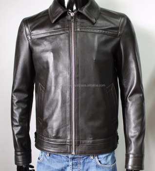 Handmade Men Genuine Lambskin Leather Jacket Slim Fit Dark Brown
