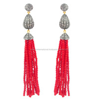 Pave Diamond Coral Beads Tassel Earrings 925 Silver Jewelry Supplier
