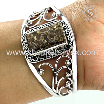 Fantabulous silver bangle tortilla agate gemstone jewellery 925 sterling silver jewelry store exporter