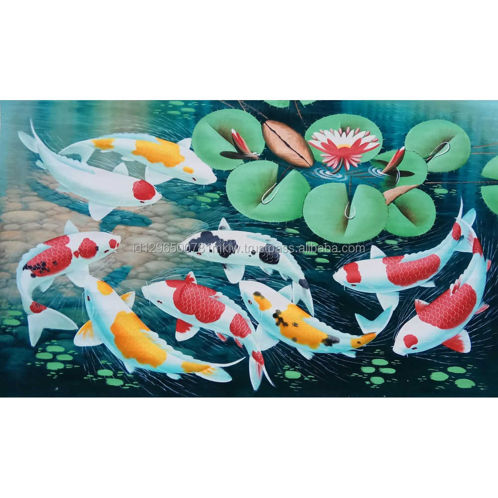 Koi Fish Painting - Wholesale Original Hand Painted Oil Color On Canvas Wall Art Modern Home Decoration
