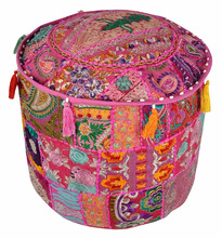 Beautiful Indian Hand Embroidery modern colorful embroidered pouf ottomans