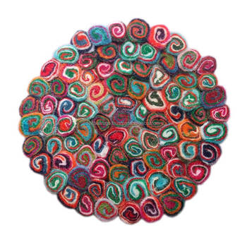 Red Spiral Felt Ball Round Rugs Nepal,Handmade Placing Mats