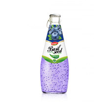 Fruit Juice Basil seed drink with Blueberry flavour in Glass bottle 290ml Coconut water