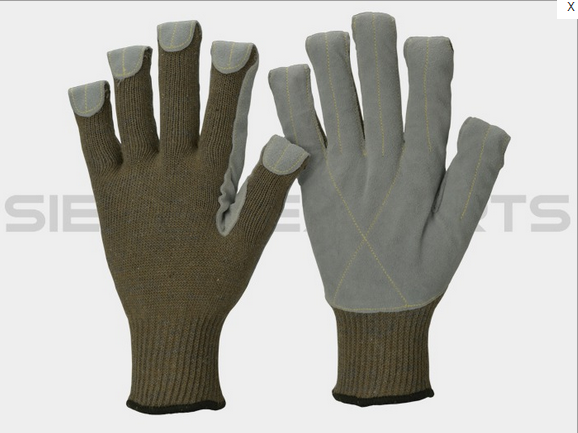 10G Plated, 100% Aramid Cut # 5 Cotton Polyester Natural Cow Split At Palm 5 Fingertips Kevlar Stitched Glove