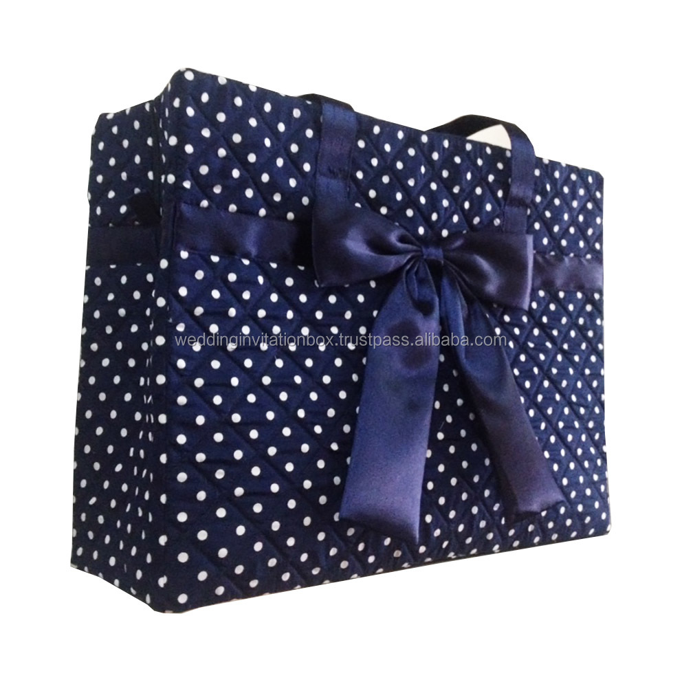 Thai Large Polkadot Cotton Quilted Handbag With Satin Bow