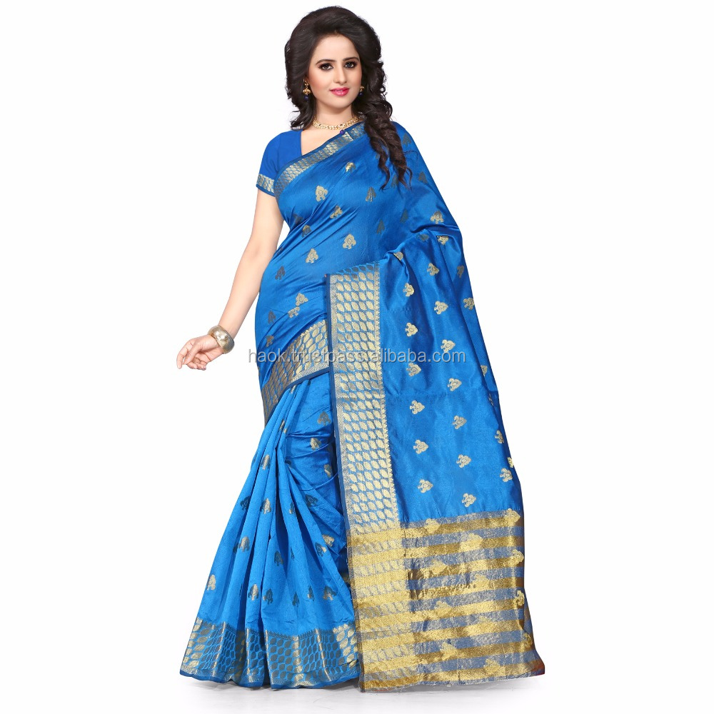 Wholesale Saree Turquoise Banarasi Art Silk saree