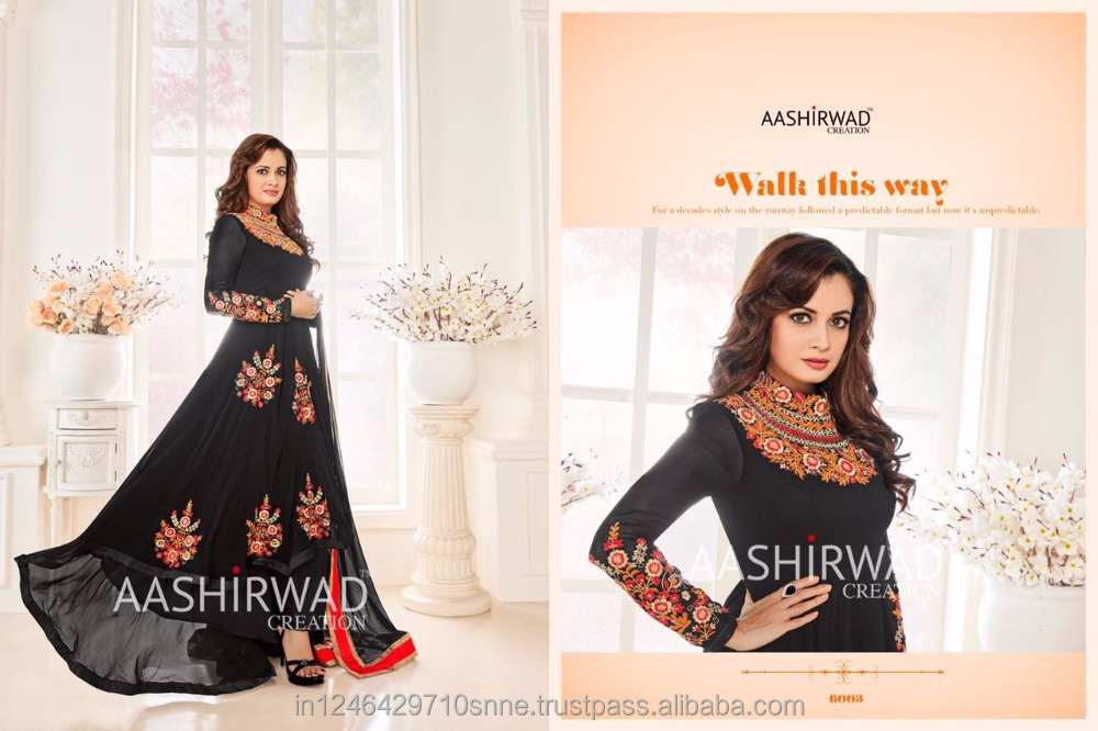 latest pakistani anarkali salwar kameez designer export quality suits black colour low price