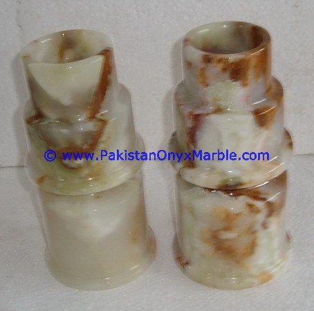 NATURAL WHITE COLOR ONYX CANDLE HOLDERS STANDS