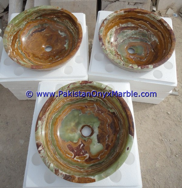 PAKISTAN FACTORY MADE BROWN GOLDEN ONYX ROUND BOWL SINKS BASINS COLLECTION