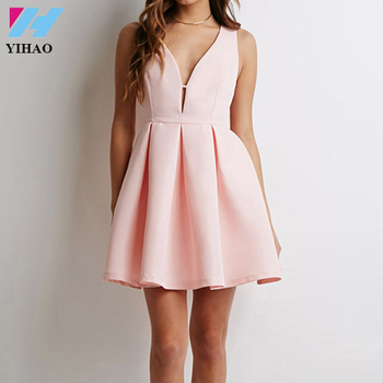 Yihao Summer Ladies Fashion Brand Women Dress Sexy Club Casual Sleeveless Girls V-neck Backless Pink Mini Party Dresses