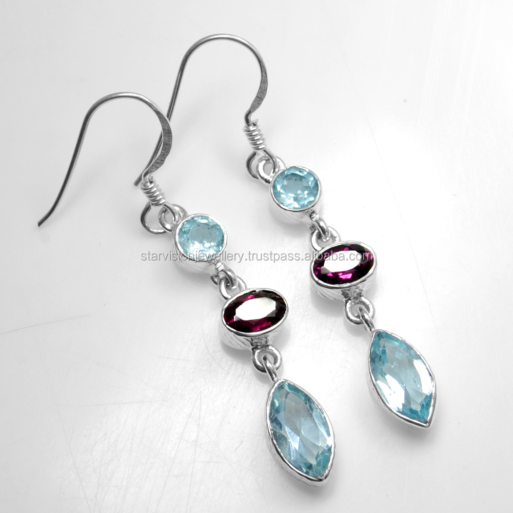 925 Sterling Silver Jewelry Natural Garnet Blue Topaz Sterling Silver Earrings