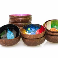 Coconut shell bowl made in vietnam natural bowl with spoons for kids low cost