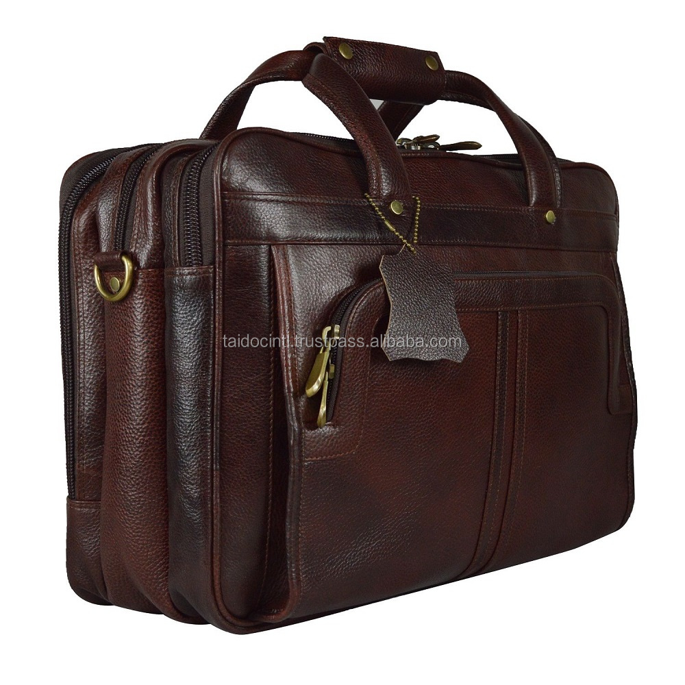 Men's Brown Cowhide Genuine Leather Messenger Shoulder Laptop Bag