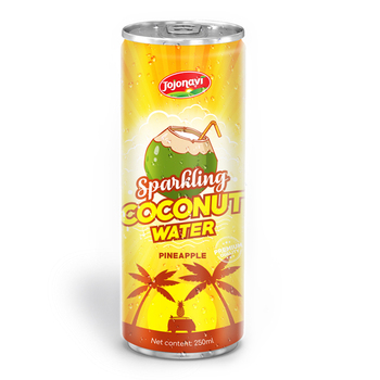 OEM beverages 250ml Canned Sparkling coconut water with Pineapple Juice Coconut water wholesales