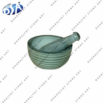 White Round Stone mortar and pestle