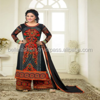 Modern Indian and Pakistani Beautiful Woman Wear Dress Embroidery Designer Straight Suits