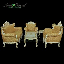 Luxury European Wooden Sofa Set with big table and side table Living Room Furniture indonesia