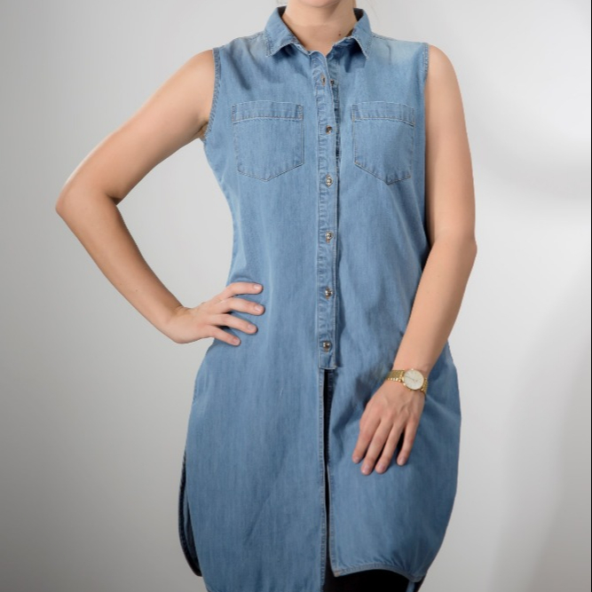 Sleeveless Long Denim Top .