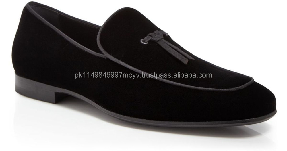 Handmade suede leather Belgian Loafers Shoes Black Color With Leather Sole Bottom