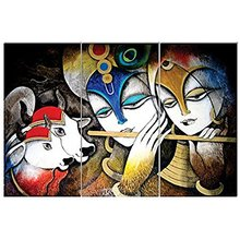 nish! 'Religious & Spiritual' Collection | Radha Krishna Artistic Wall Tiles (Ceramic Tiles, 3ftx2ft, UV Cured, 3pc set)