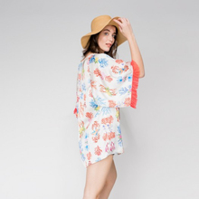 GALLI perfect tunic with vivid sea print quality beach v-neck tops