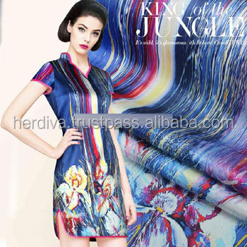 Digital printing fabric wholesale 1yard 1meter printed fabric satin flora style designer custom printed textile fabric for cloth
