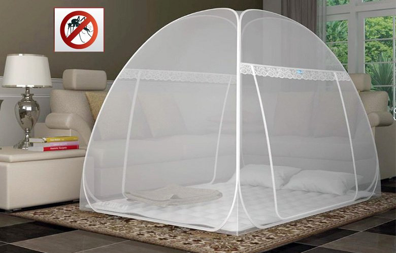 Foldable Pop Up Indoor Outdoor Mosquito Net Radium Zipper Tag washerble