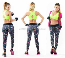 Gradient color Cotton Womens Sports Pants Elastic Yogo Fitness Gym Leggings