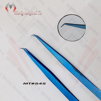 2018 Professional Titanium Blue Eyelash Tweezers / Hot Sale Titanium Blue Color Eyelash Tweezers Marig Surgical Co