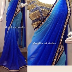 Heavy work blouse with padding georgette saree