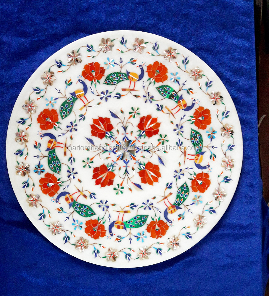 White Marble Plate Peacock Design Kitchen Gift Items