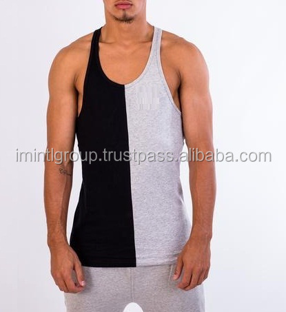 singlet high tech material two tone stringer vest style, gym tank top IM.3169
