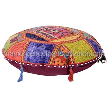 Handmade Round Floor Cushion Cover, Home decorative Patchwork Roundies, Handmade Beautiful Poufs Floor Cushion